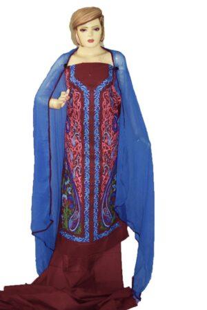 Kashmiri Embroidery Cotton Salwar Suit Fabric with matching chiffon dupatta C0640