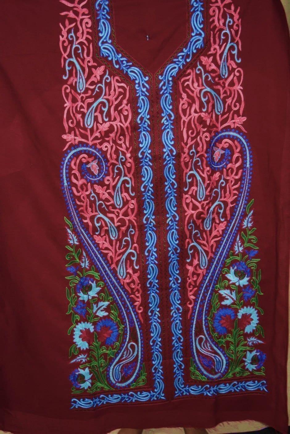 Kashmiri Embroidery Cotton Salwar Suit Fabric with matching chiffon dupatta C0640 4