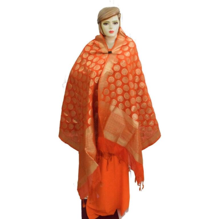Orange Banarasi Silk Party Wear Dupatta D0951