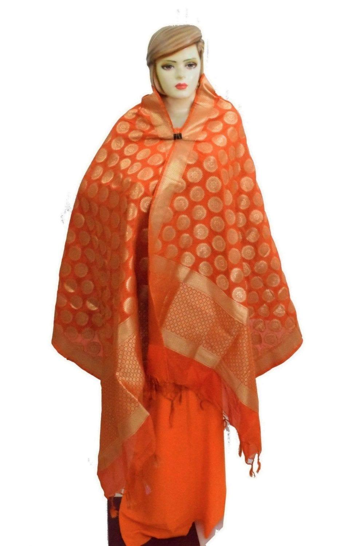 Orange Banarasi Silk Party Wear Dupatta D0951 1