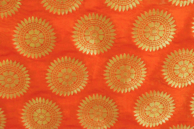 Orange Banarasi Silk Party Wear Dupatta D0951 2