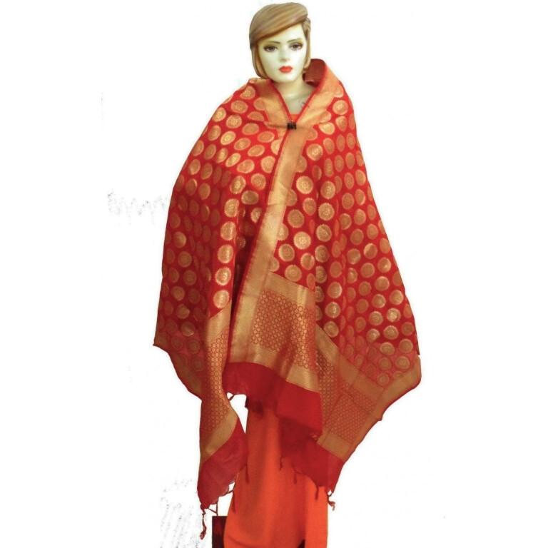 Bridal Red Banarasi Silk Party Wear Dupatta D0952