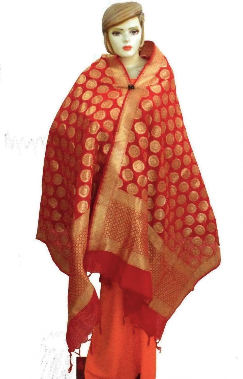 Bridal Red Banarasi Silk Party Wear Dupatta D0952 1