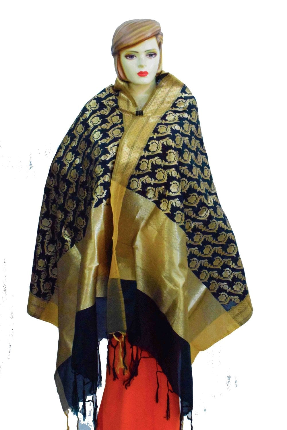 Black Banarasi Silk Party Wear Dupatta with Golden Print D0953 1
