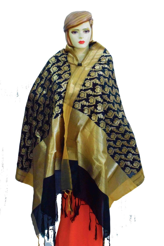 Black Banarasi Silk Party Wear Dupatta with Golden Print D0953 1