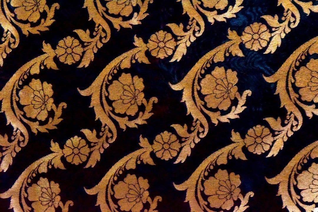 Black Banarasi Silk Party Wear Dupatta with Golden Print D0953 2
