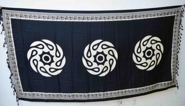 South Cotton Silk Black n White Print Dupatta Chunni DP027