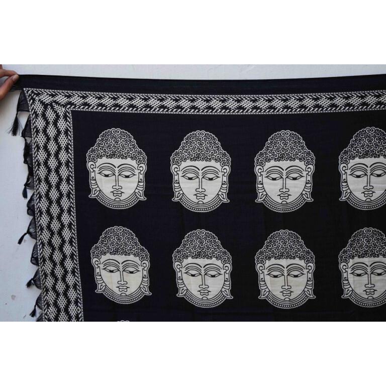 Black n White South Cotton Silk Printed Dupatta Chunni DP028