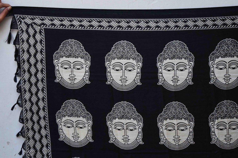 Black n White South Cotton Silk Printed Dupatta Chunni DP028 2