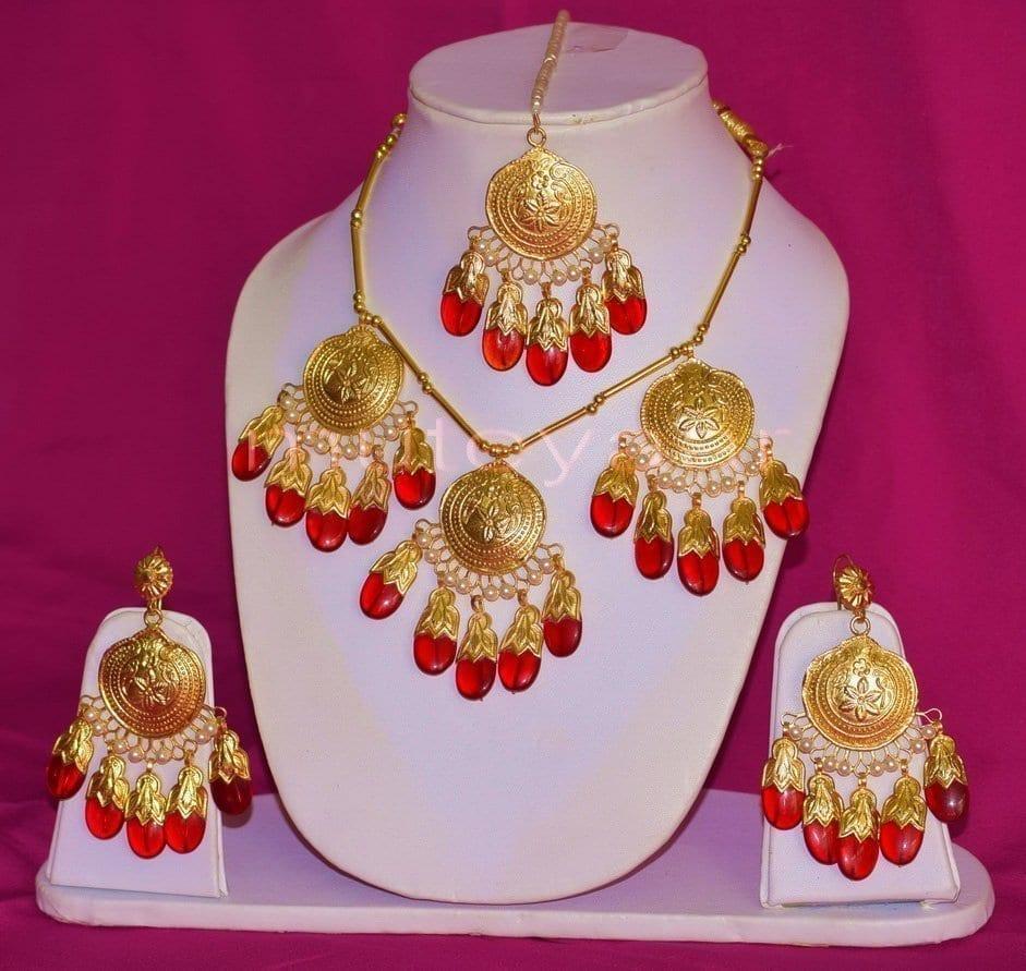24 Ct. Gold Plated Traditional Punjabi Full Dakh Set jewellery with Tikka  J0209 1