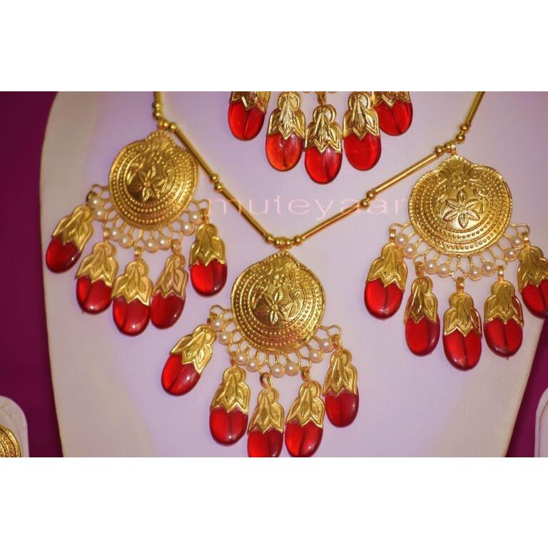 24 Ct. Gold Plated Traditional Punjabi Full Dakh Set jewellery with Tikka  J0209
