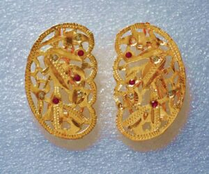 Gold Polished Party Wear Jadau Hair Clips Pair J0382