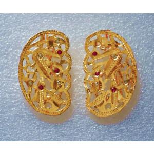 Gold Polished Party Wear Jadau Hair Clips Pair J0382