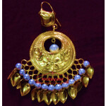 24 Ct. Gold Plated Traditional Punjabi Earrings Tikka set J0383