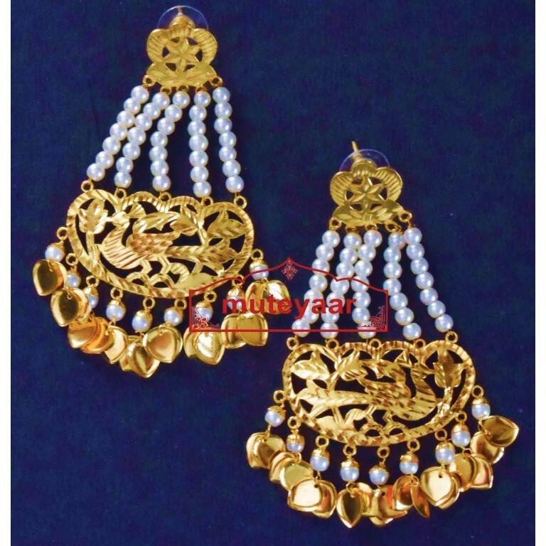 24 ct. Gold Plated  Handmade Traditional Punjabi Clip Design Earrings Jhumka J0384