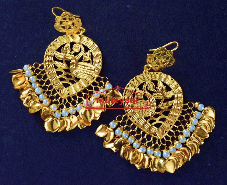 24 ct. Gold Plated  Handmade Traditional Punjabi Duck Earrings Jhumka J0385 1
