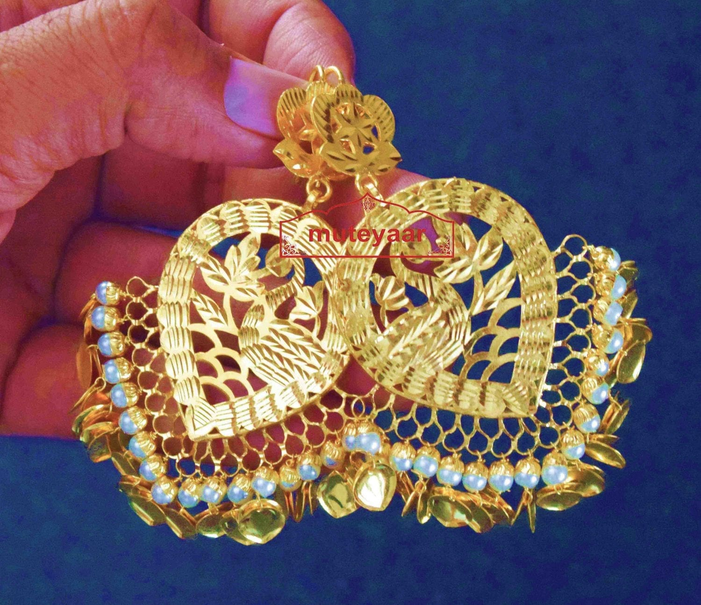 24 ct. Gold Plated  Handmade Traditional Punjabi Duck Earrings Jhumka J0385 2