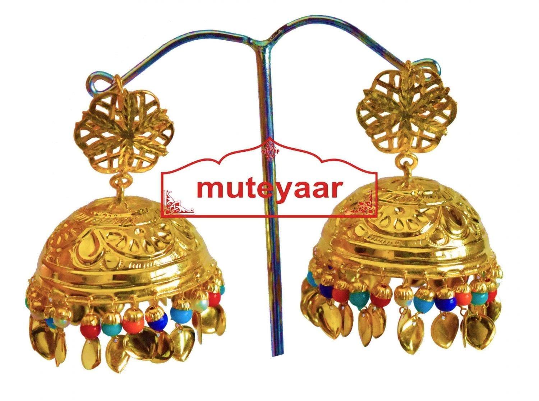 Big LOTAN Earrings Real Gold Plated Traditional Punjabi Jhumka J0386 1