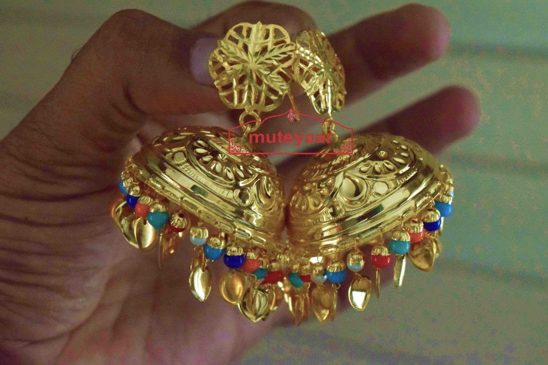 Big LOTAN Earrings Real Gold Plated Traditional Punjabi Jhumka J0386 2