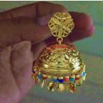 Big LOTAN Earrings Real Gold Plated Traditional Punjabi Jhumka J0386