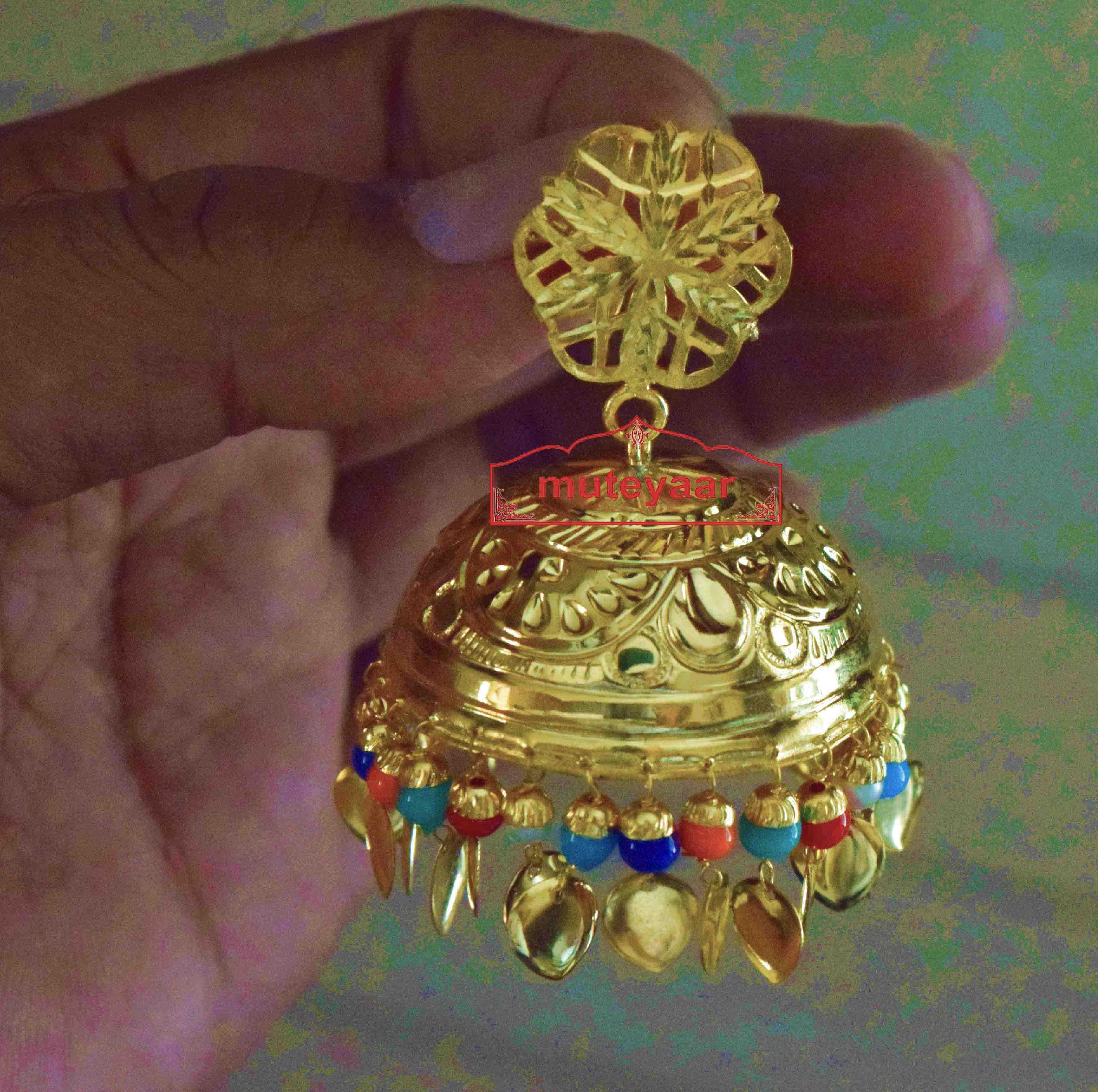 Big LOTAN Earrings Real Gold Plated Traditional Punjabi Jhumka J0386 3
