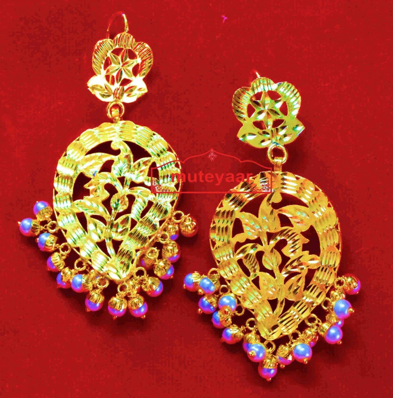 Punjabi Ambi Earrings 24 ct. Gold Plated Traditional Jhumka J0394 1