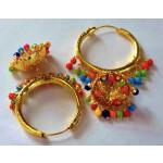 Gold Polished Dangles Jhumka Waliyaan Lotan Bali set with multicolour beads J0399