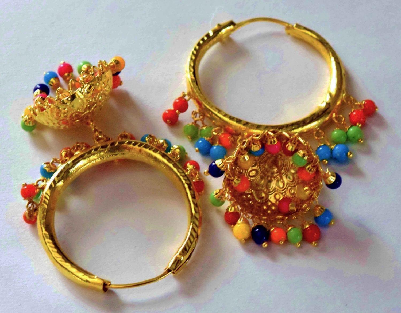 Gold Polished Dangles Jhumka Waliyaan Lotan Bali set with multicolour beads J0399 1