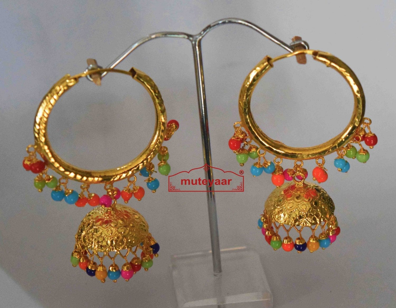 Gold Polished Dangles Jhumka Waliyaan Lotan Bali set with multicolour beads J0399 2