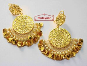 Cut Jali Handmade Earrings 24 ct. Gold Plated Punjabi Traditional J0407