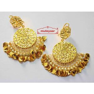 Cut Jali Handmade Earrings 24 ct. Gold Plated Punjabi Traditional J0407