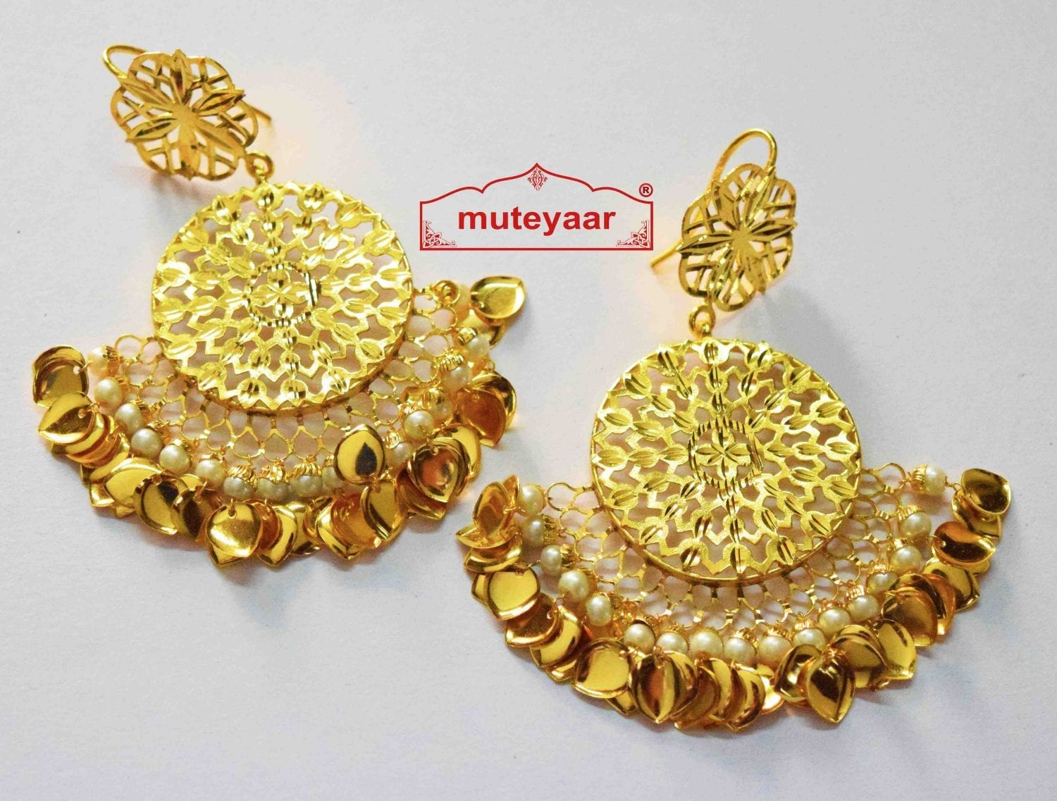 Cut Jali Handmade Earrings 24 ct. Gold Plated Punjabi Traditional J0407 1
