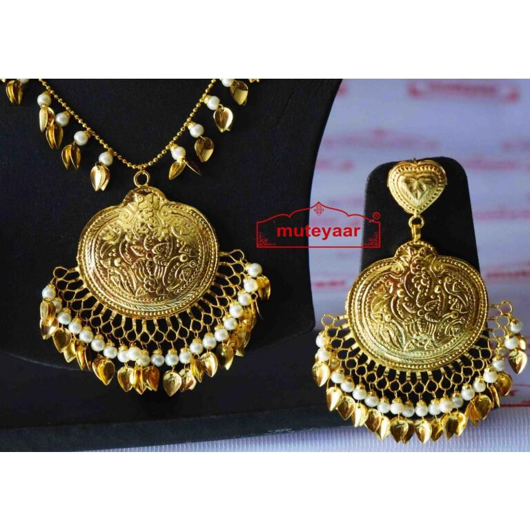 Handmade Punjabi Traditional Gold Plated Pendant Earrings with matching Tikka J0411