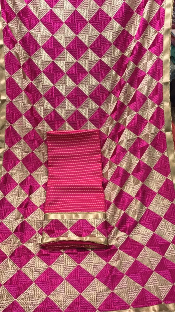 MC Bagh Check Phulkari Suits Wholesale 10 Salwar Kameez Dupatta Sets