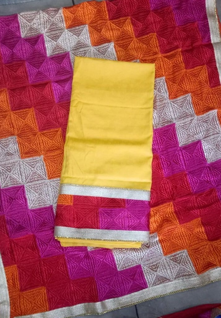 Plain Phulkari Suits Wholesale Lot of 10 Salwar Kameez Dupatta Sets 1
