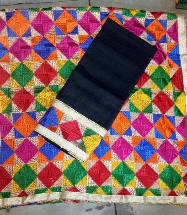 Plain Phulkari Suits Wholesale Lot of 10 Salwar Kameez Dupatta Sets 2