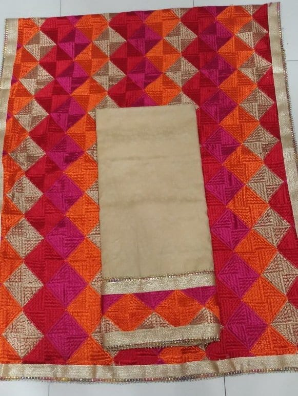 Plain Phulkari Suits Wholesale Lot of 10 Salwar Kameez Dupatta Sets 3