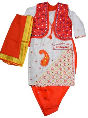 Orange White Diagonal Ambi Embroidery Bhangra Costume outfit dance dress OWDA