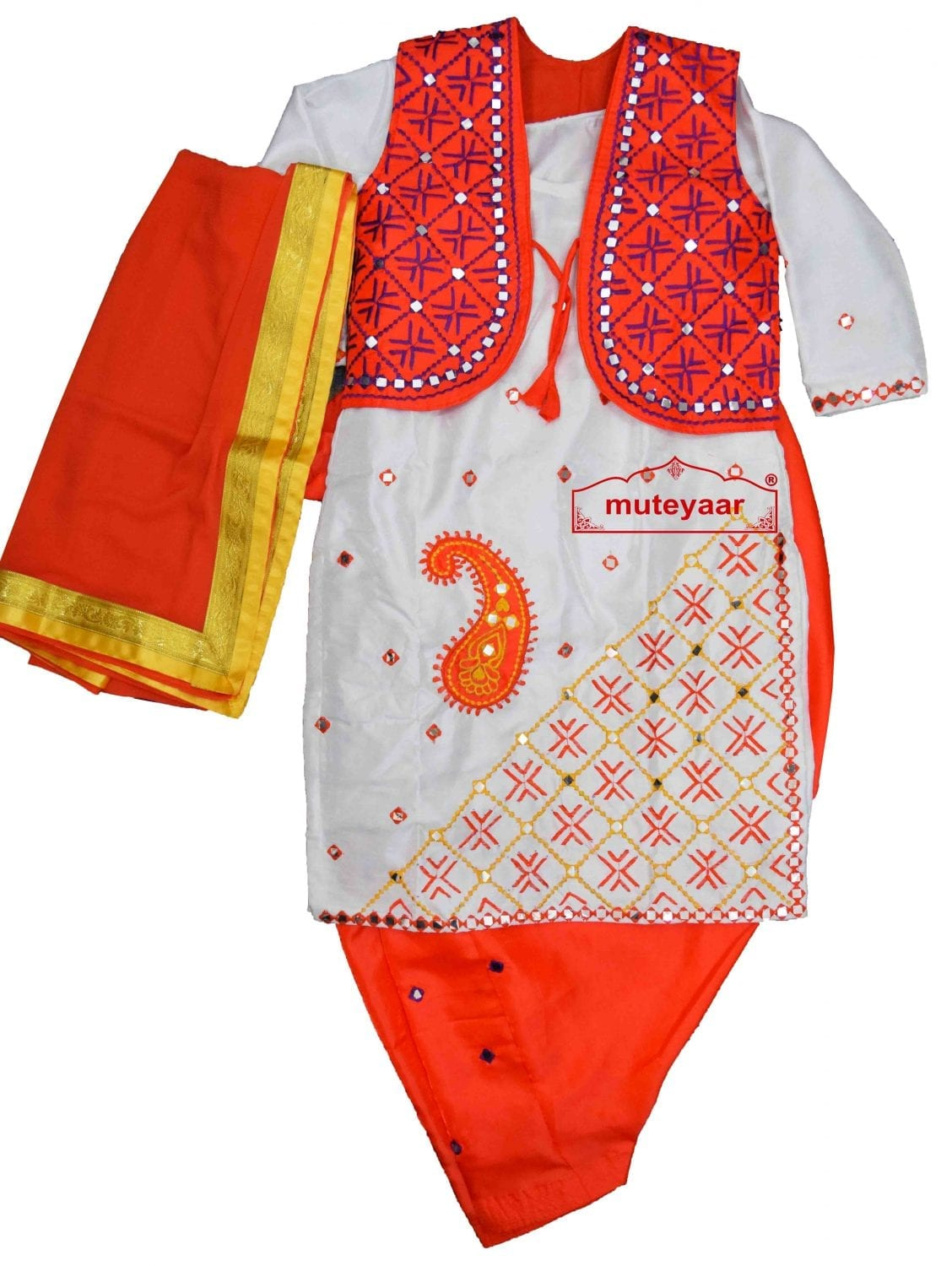 Orange White Diagonal Ambi Embroidery Bhangra Costume outfit dance dress OWDA 1