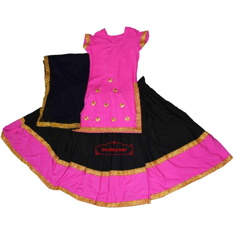 Full Ghera Crepe Lehenga / Ghaghra Giddha Costume outfit dance dress