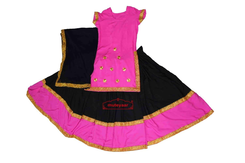 Full Ghera Crepe Lehenga / Ghaghra Giddha Costume outfit dance dress 1