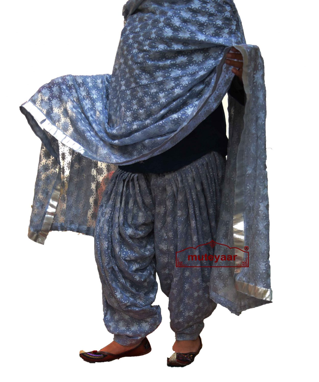 Grey PHULKARI Embroidered Patiala Salwar with matching Dupatta PHS21 1