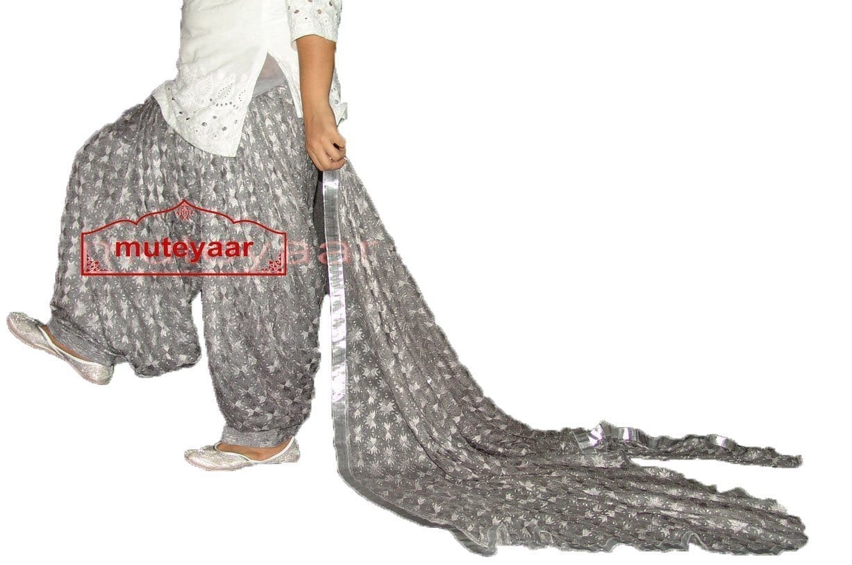Grey PHULKARI Embroidered Patiala Salwar with matching Dupatta PHS21 2