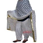 White Phulkari Patiala Salwar Dupatta Set PHS28