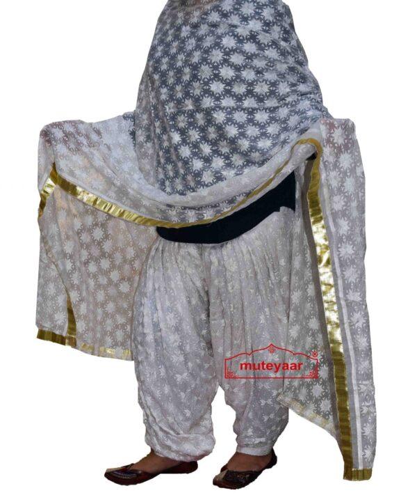 White Phulkari Self Embroidered Patiala Salwar with matching Dupatta PHS28