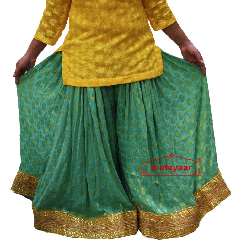 Polka Print Sharara Divided Skirt with Full Flares - all colours available.
