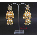 Kundan double Lotan Earrings with White Beads J0418
