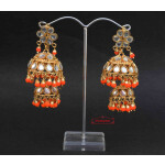 Kundan double Lotan Earrings with Orange Beads J0419