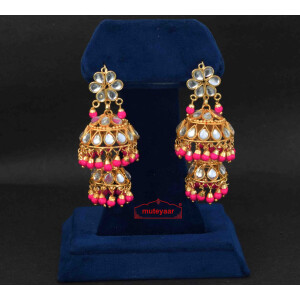 Magenta Beads Kundan double Lotan Earrings J0421
