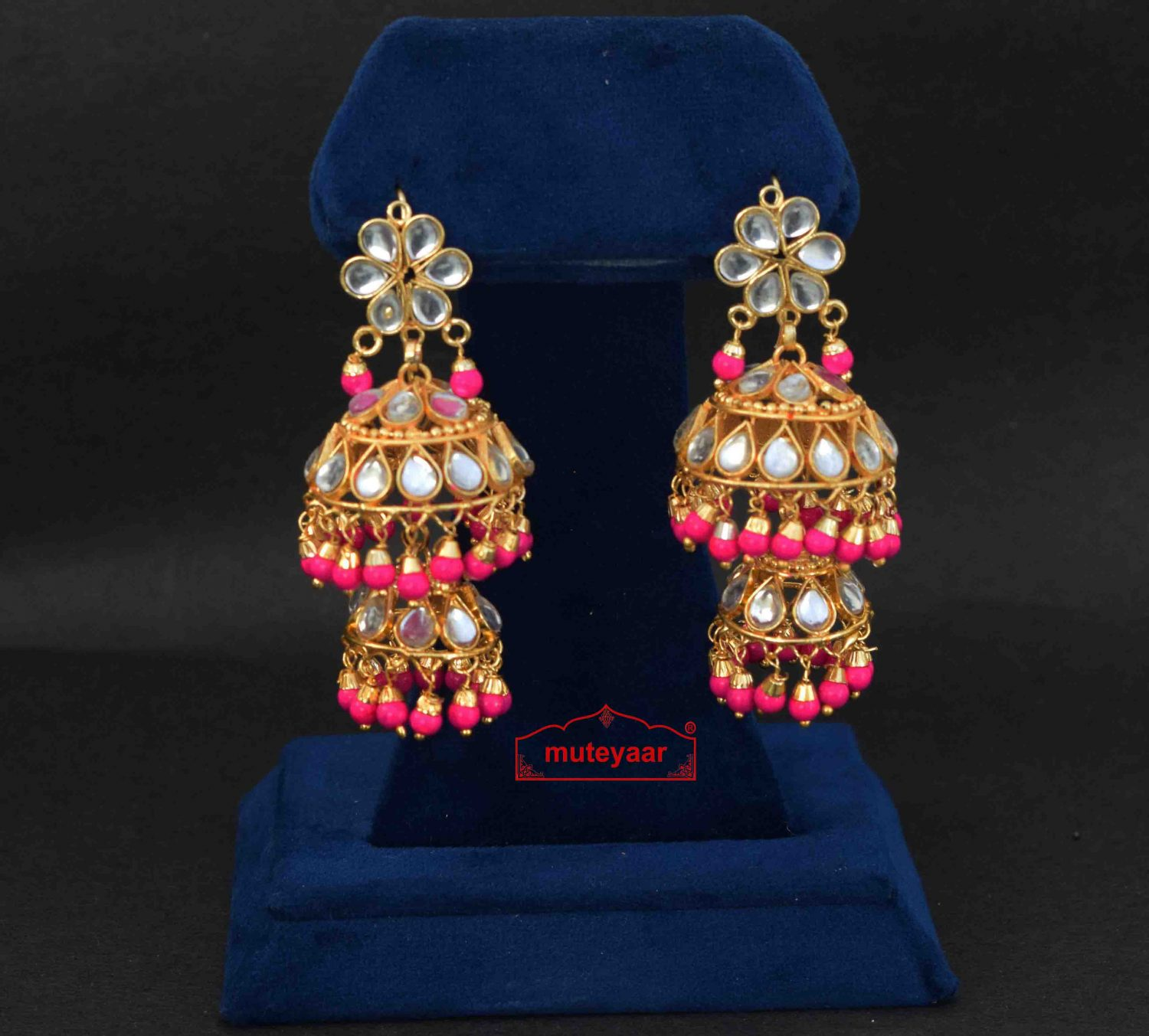Magenta Beads Kundan double Lotan Earrings J0421 1